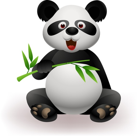 giant panda: Funny panda with bamboo
