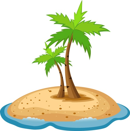 coconut water: Tropical island with funny sun character  Illustration
