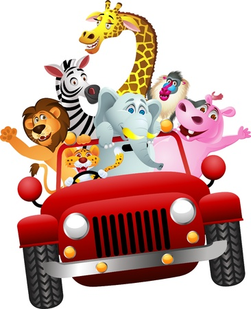 jungle cartoon: Los animales africanos en coche rojo