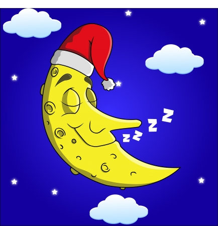 Sleeping Cartoon Moon  Vector
