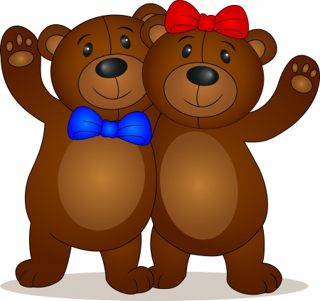 couple embrace: Bear doll cartoon  Illustration