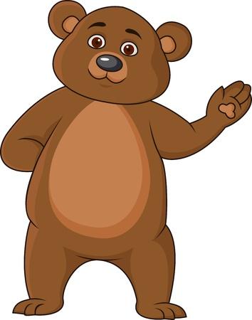Funny bear cartoon waving hand