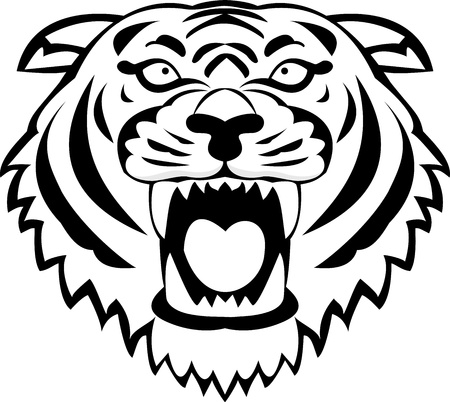 tiger head: Tiger tattoo  Illustration