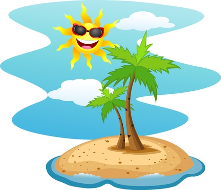 Tropical island with funny sun character  Stock Vector - 13984422