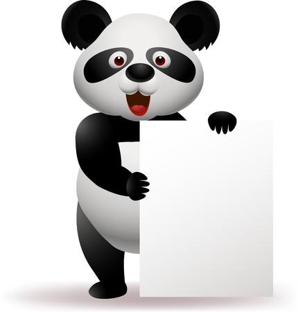 oso panda: Panda con el cartel en blanco Vectores