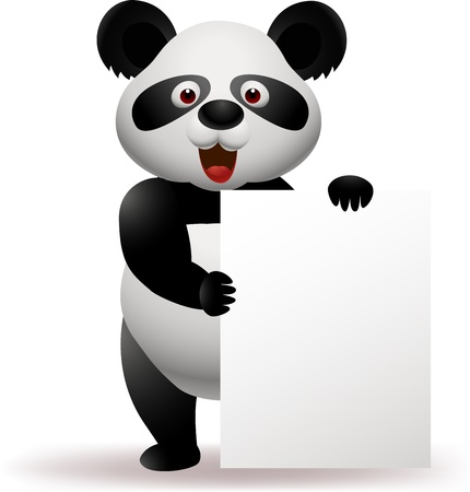 panda bear: Panda with blank sign