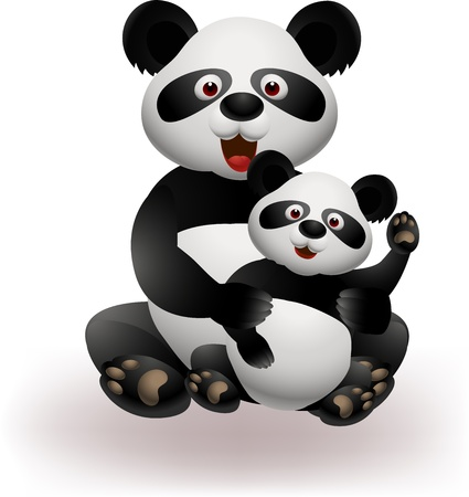 Mother and baby panda  Vector