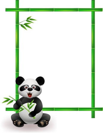 cartoon panda: Panda with bamboo tree