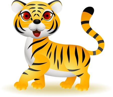 Funny tiger cartoon  Vector