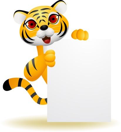 tigre blanc: Dessin animé Tigre avec signe blanc
