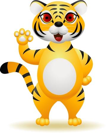Tiger cartoon waving hand Stock Vector - 13984221