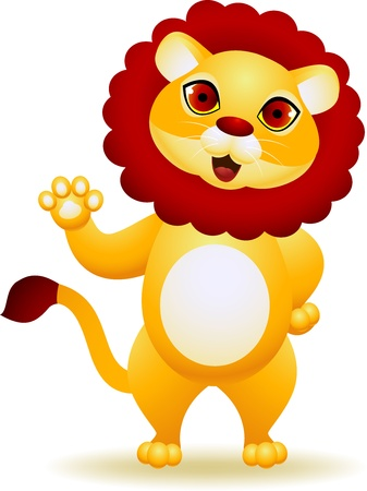 Lion cartoon waving hand  Vector