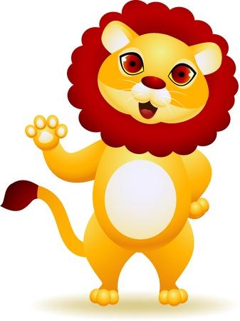 Lion cartoon waving hand  Vector