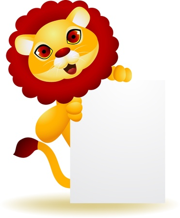 Lion cartoon with blank sign  Stock Vector - 13984451