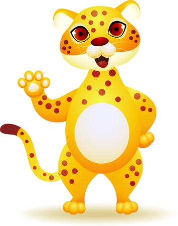 Cheetah cartoon waving hand Stock Vector - 13984437