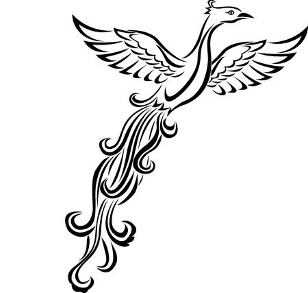 tatouage oiseau: Phoenix oiseau de tatouage Illustration