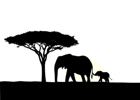 siluetas de elefantes: ilustraci�n de elefante africano con la silueta de beb�