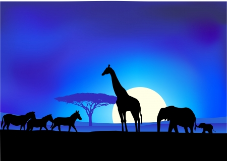 illustratie van Safari achtergrond Vector Illustratie
