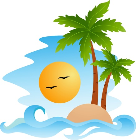illustration of Tropical island  Vector