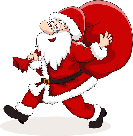 illustration of Santa Claus carrying big bag