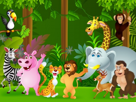 cartoon jungle: illustration of Animal cartoon  Illustration