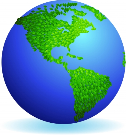 illustration of Eco earth, Leaves form American continent  Vector
