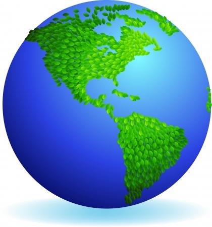 continente americano: ilustración de Eco tierra, las hojas continente forma americana