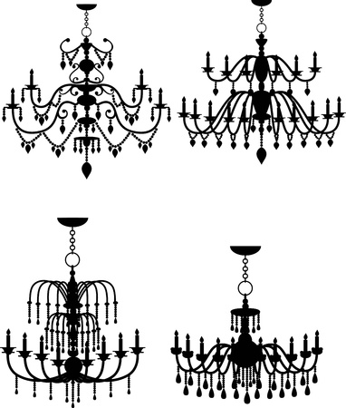 baroque room: vector illustration of chandelier Illustration