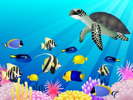 marine scene: vector illustration of Sea life background