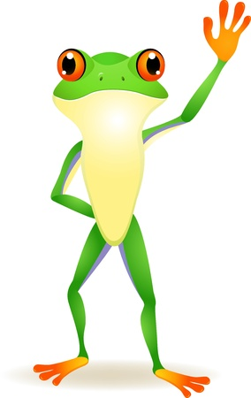 vector illustration of Funny frog cartoon with hand waving  Vector