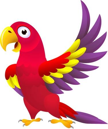 vector illustration of Funny parrot cartoon  Vettoriali