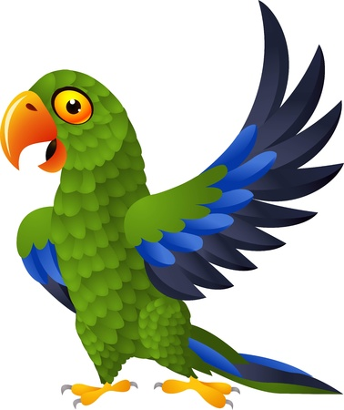 guacamaya caricatura: ilustraci�n de dibujos animados divertido loro verde detallada Vectores