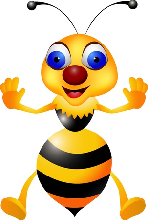 wave hello: illustration of Funny bee cartoon