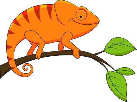 babyish animal: illustration of Funny chameleon cartoon