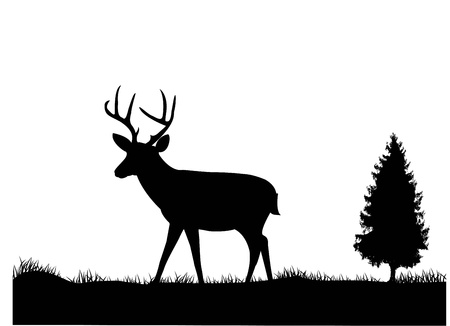 nature one painted: illustration of Deer silhouette  Illustration