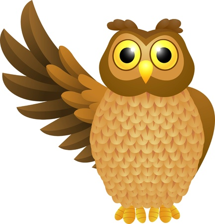 a large bird of prey: illustration of Funny owl cartoon  Illustration