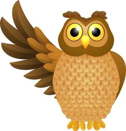 a large bird of prey: illustrazione di cartone animato divertente civetta Vettoriali