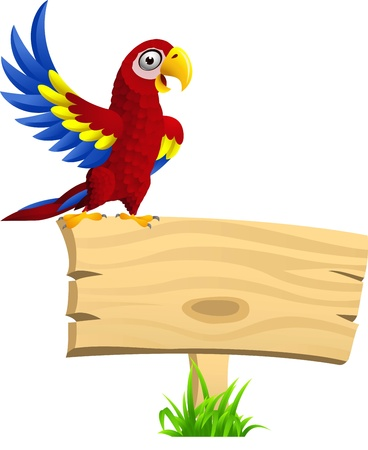 lovable: illustration of Macaw with blank signboard