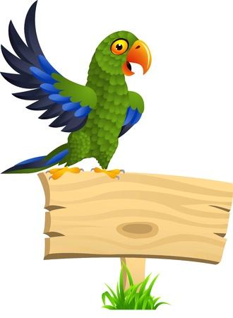cartoon for�t: illustration de perroquet vert avec panneau blanc Illustration