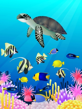 illustration of Sea life background Vector