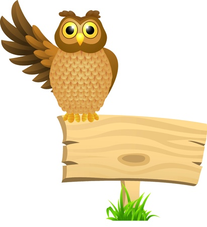 owl: illustratio of Owl with blank signboard