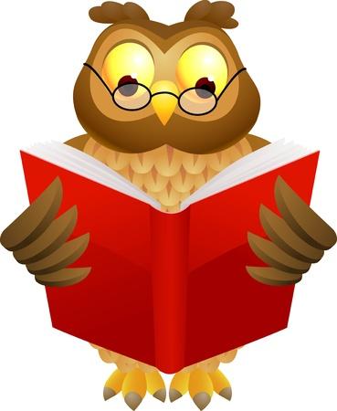 illustratio of Wise owl cartoon  Ilustracja
