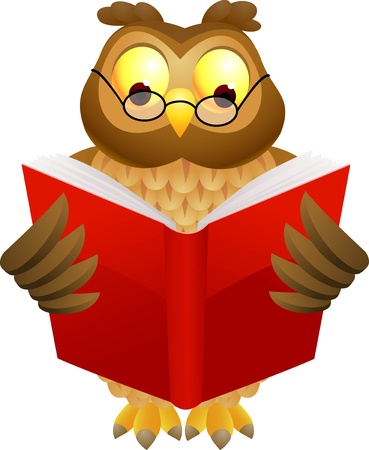 illustratio of Wise owl cartoon  Illustration
