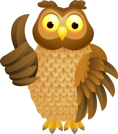 illustratio of Owl cartoon with thumb up  Vector