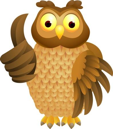 sowa: illustratio OWL kreskówki z kciukiem do góry Ilustracja