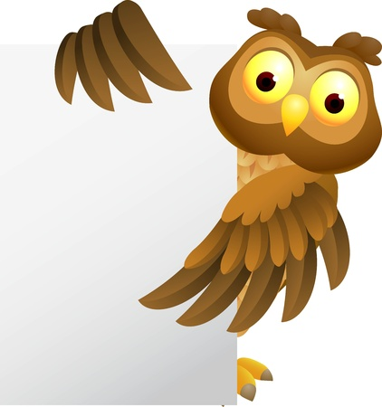 illustratio of Owl cartoon with blank sign Illustration