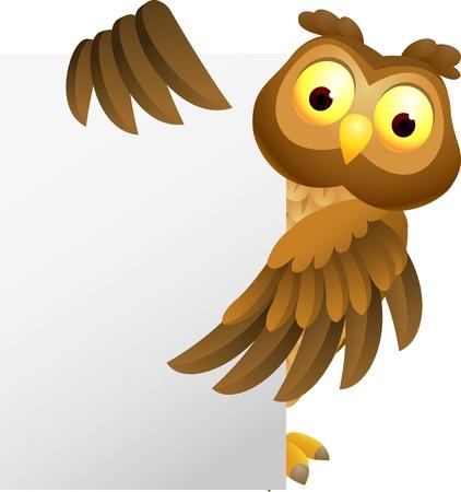 illustratio of Owl cartoon with blank sign Stock Vector - 14324294