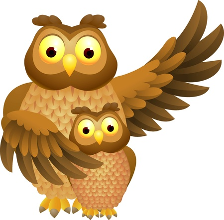 illustratio of Mother owl with baby owl  Stock Vector - 14324318