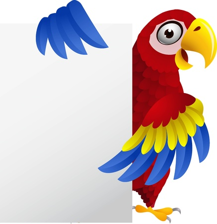 illustration of Macaw with blank sign