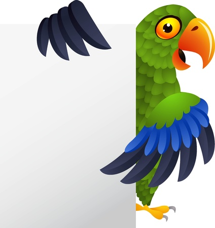 loros verdes: illustratio de loro verde con signo en blanco Vectores
